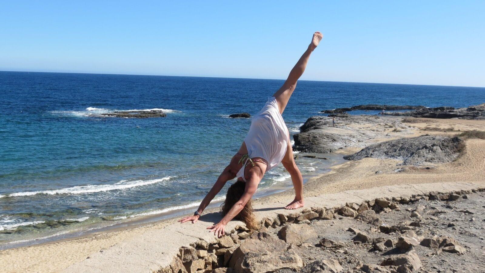 yoga-en-la-playa-perro-boca-abajo